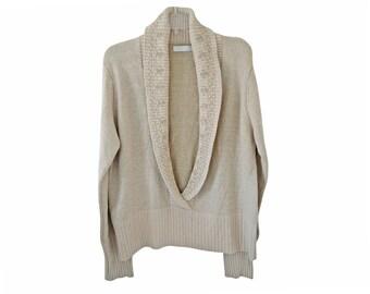 Vintage La Boutique women blouse sweater top beige Silk and Angora