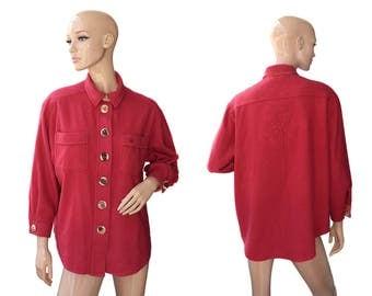 Vintage women top shirt blazer dark pink  wool