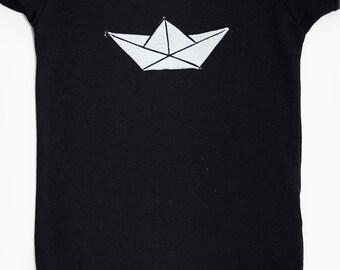 Origami Boat Block Print Onesie