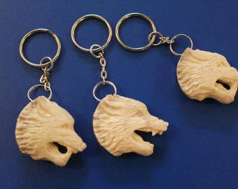 Key chains out of deer antlers. The picture of a wolf