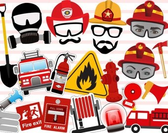 Printable Fireman Photo Booth Props, Firefighter Party Photobooth Props, Instant Download Fireman Birthday Party Photo Booth Props 0200
