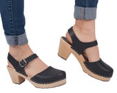 Swedish Clogs Highwood Black Leather by Lotta from Stockholm / Wooden Clogs / Sandals / High Heel / Mary Jane Shoes / Made in Sweden /
