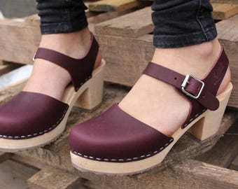 Swedish Clogs Highwood Aubergine Leather by Lotta from Stockholm / Wooden Clogs / Summer Sandals / High Heel / Mary Jane Shoes / Eggplant /
