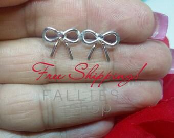 Bow earrings, crystal bow earrings, silver plated bow earrings, bow stud earrings, silver bow earrings,earrings, rhinestone earrings,jewelry