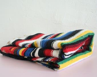 Vintage Mexican Serape Blanket / Aztec Blanket / Boho Southwestern Textile / Colorful Mexican Throw Blanket