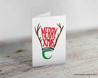 Merry Christmas Badminton Shuttle Greeting Card