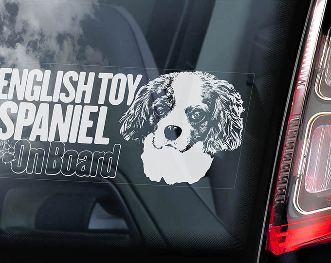 Car Window Sticker Cocker Spaniel on Board English Dog Sign Decal Gift V02