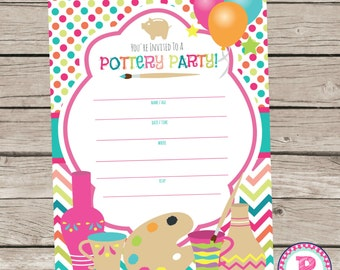 Painting Pottery Fill In the Blank style Birthday Party Invitations Instant Download 5x7 size