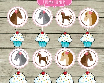 Cupcake Toppers Pony Birthday Party Ideas Pink Polka Dot Farm Cowgirl Horseback Riding