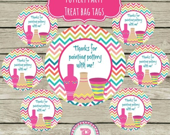 Painting Pottery Treat Bag Tags Circle Favors Party Ideas Pink Chevron Clay Girl Instant Download