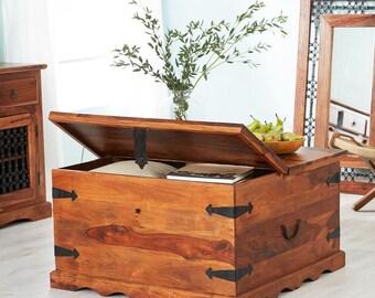 Jali coffee table trunk storage - Jaipur Indian style - Sheesham wood