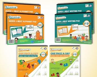 Channie's Visual Handwriting & Math Workbook Bonus Pack 6 workbooks