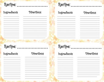 Printable Recipe Cards - Floral