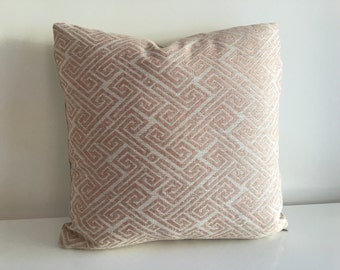READY TO SHIP Blush Pink and Ivory Geometric Greek Key - 20x20 Pillow Cover