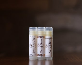 Sample Pack, Tiffany & Bees Lip Balms (Rose, Lavender, and Spearmint), .15 oz tubes