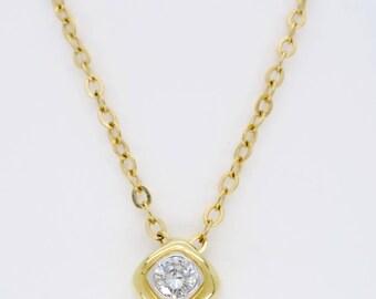14K Yellow Gold Dainty Diamond Necklace