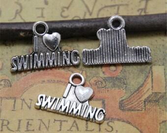 20pcs I Love swimming Charms silver Tone swimming charm pendants 22X15mm ASD0088