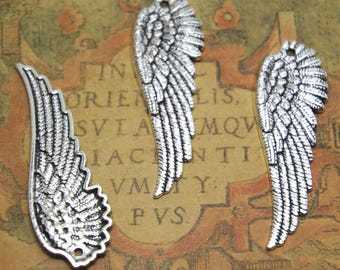 10pcs Large Angel Wing Charms silver tone Large Angel Wing Charms Charms pendants 51x17mm ASD1562