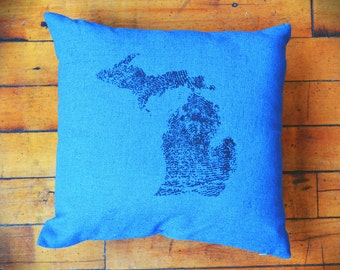 Michigan Made Pillow (Blue)