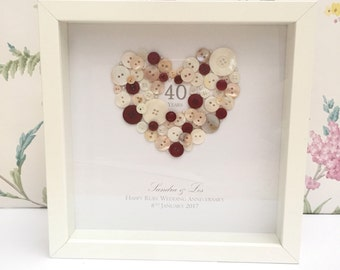 Wedding Anniversary, Personalised 40th Ruby Wedding Anniversary Button Gift Frame