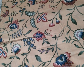 """Remnant 1.5 yards - Vintage Waverly """"Carolina Crewel Country Crafts"""" pattern fabric remnant - 1.5 yards"""