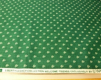 Yardage - Vintage Waverly 'Welcome Friends' forest green fabric