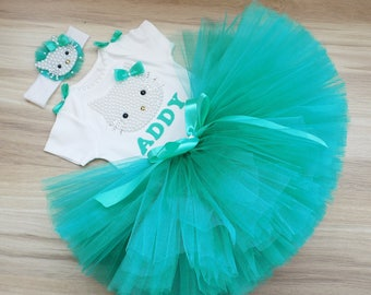 Turquoise Hello Kitty 1st Birthday Outfit Onesie Tutu FREE Hair Bow Personalized Personalized Hello Kitty Birthday Outfit