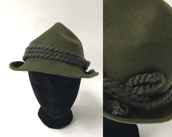 Green Alpine Hat Felt Tyrolean Original Olive Green Braided Rope Hat Austrian Trachten Hat Tirolean Mountain Bavarian Oktoberfest Hat