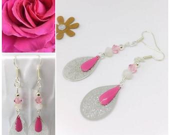 Hypoallergenic, surgical steel, silver, swarovksi Pink Pearl Earrings