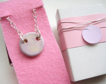 Necklace ceramic Silver 925 pink 3
