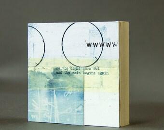 LIGHT GOES OUT  collage, printmaking, ephemera, collage art, mixed media, art, original art, free domestic shipping