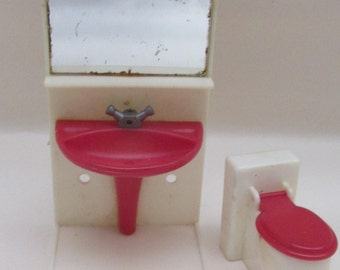 Vintage 1970s Red and White Plastic Dolls House Miniature Bathroom Set - Sink Unit and Toilet