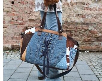 Shopper / Weekender, large bag, leather/fur