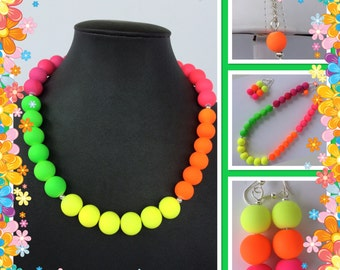 Neon Block Pearl Necklace - Summer Time Jewelry - Trendy Jewelry - Neon Jewelry - Neon Multi Color Necklace - Neon Necklace - Block Necklace