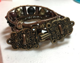 Aztec goddess wrap or boho bracelet .