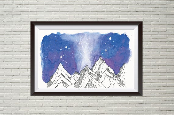 Velaris- starfall acomaf handpainted watercolor mini art print