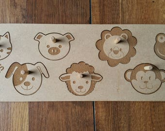 Animal Puzzle / Learning Puzzle / Wooden Puzzle / 1st Birthday / Wooden Toy / Personalized Gift / Christening Gift / Christmas