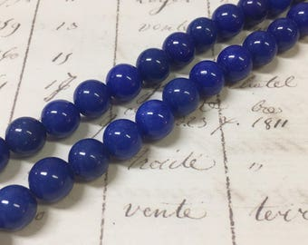 AA Quality, Navy Blue Jade Beads, Candy Jade, Round, 8mm, Full strand