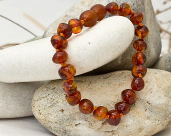 Amber Teething Anklet- Lovely Cognac Colour