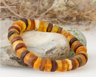 Multicolour Baltic Amber Stretch Bracelet - Unpolished Beads
