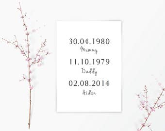 Family birth dates/ Special Dates / Nursery Decor / home decor / Typography / Family / A4 Wall art