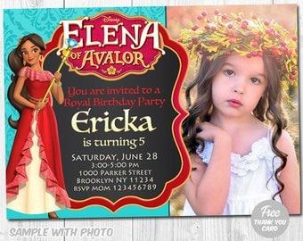 Elena of Avalor Invitation, Elena Invitations, Elena Avalor Photo Invite, Elena Birthday, Elena Avalor Printable, Elena Birthday Invitation