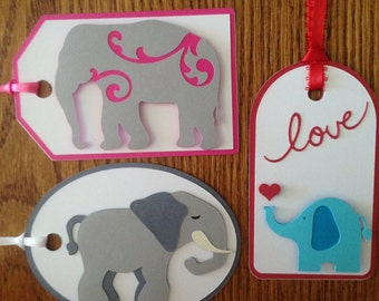 Crafty Tags by Kristin 3D Layered Elephant Gift Tag Assortment #2 Pack of 3