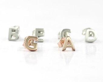 Alphabet Stud Earrings.Solid 14K Custom Initial Earrings.Capital Letter Gold Earrings.Dainty Solid Gold Minimalist Earrings.Gold Studs