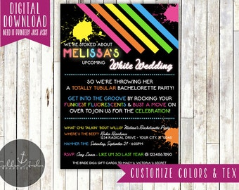 80s Invitation, 80's Bachelorette Party Invitation,  Eighties Bridal Shower Invite - Printable DIY