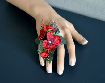 Ring corsage;red;black;prom;formal;artificial;faux;silk;feather;rhinestone;wire;adjustable;rose;succulent