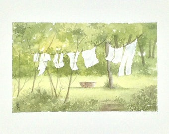 "Laundry table watercolor ""a day in the country"""