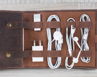 Leather Cable Organizer, Cord Organizer, Cable Organizer, Leather Cable Holder, Personalized Handmade Leather Cord Wrap with Pocket