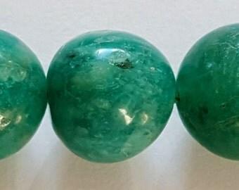 6mm round natural Russian amazonite gemstone beads.  16 inch strand
