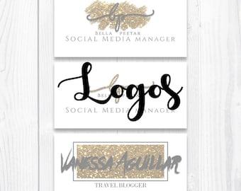 Premade logo design | Gold glitter | logos | Wild - chic | Blog | Website | Custom logo |